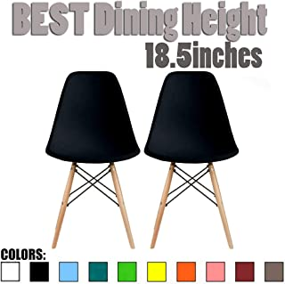 2xhome Set of Two (2) - Plastic Side Chair Natural Wood Legs Eiffel Dining Room Chair - Lounge Chair No Arm Arms Armless Less Chairs Seats Wood Leg Dowel Legs (Black)