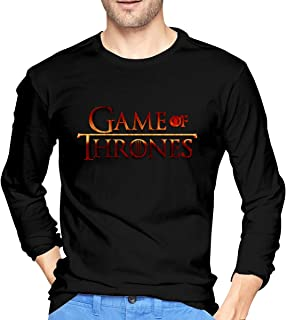 BYSKA Casual Tee Game-of-Thrones-Logo-PNG-Image-Background Long Sleeve Tshirt for Man Black