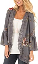 Womens Kimono Cardigans Floral Print Chiffon Beach Cover ups Loose Casual Tops