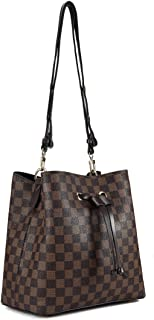 Checkered Handbags for Women Large Designer Ladies bag Bucket Purse Leather