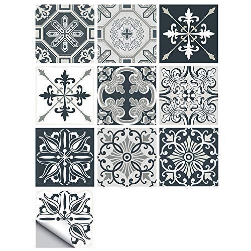 Pegatinas para Azulejos, Impermeable Autoadhesivo Marroquí Azulejos Retro Estilo Victoriano Mosaico Transferencias Azulejos Pegatinas Bricolaje para Cocina Baño Hogar Decoración (15 x 15 cm,A-10PCS)