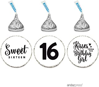 Andaz Press Chocolate Drop Labels Trio, Fits Hershey's Kisses, Sweet 16 Birthday, White, 216-Pack