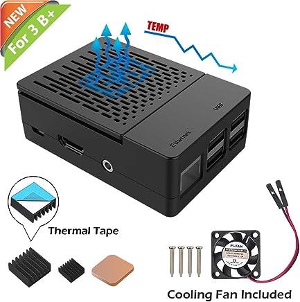 iUniker Raspberry Pi 3 B+ Case, Raspberry Pi Fan ABS Case With Cooling Fan, Raspberry Pi Heatsink, Simple Removable Top Cover for Pi 3 B+, Pi 3 Model B, Pi 2 Model B - Black