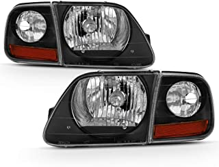 ACANII - For Black 1997-2003 Ford F150 Expedition Lightning Style Headlights Headlamps w/Corner Signal Lights 4pcs Set