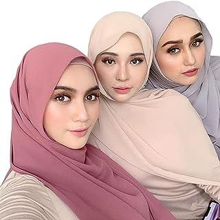QYMY 3PCS Women Soft Chiffon Scarves Solid Color Hijab Muslim Head Scarf Long Scarf Wrap Scarves chiffon Scarf