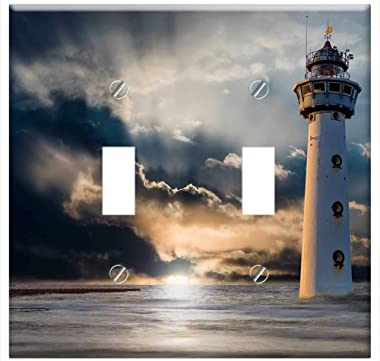 Switch Plate Double Toggle - Lighthouse Glow Evening Clouds Sunset Ocean Sea 3