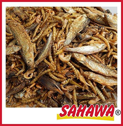 SAHAWA® 6 Sorten Reptilienmix, Trockenfutter, Schildkrötenfutter, Reptilien, getrocknete Heuschrecken, getrocknete Bachflohkrebse, getrocknete Heuschrecken, getrocknete Fische (3 l Tüte)