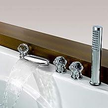 مجموعة صنبور حوض شلال عصري وحوض الاستحمام ثلاثة مقابض وخمس ثقوب للحمام مياه دش المطر خلاط صنابير تثبيت