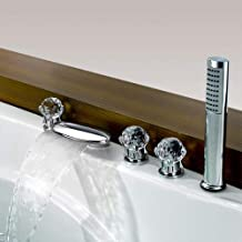 Contemporary Waterfall Tub and Shower Faucet Set Bathtub Faucet Three Handles Five Holes Bathroom Lavatory Rain Shower Mix...