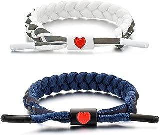 Red Love Bracelet -Shoelace Hand-knit Bangle Boy and Girl Combination Set