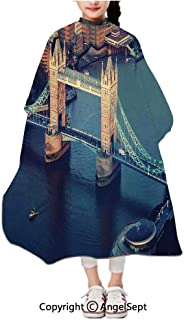 Children Patterned Hair Cut Apron Online,London Aerial View with Tower Bridge at Sunset Internatinal Big Old UK British River Multicolor,47.2x39.4 inches,Waterproof Hairdresser Dressing Salon