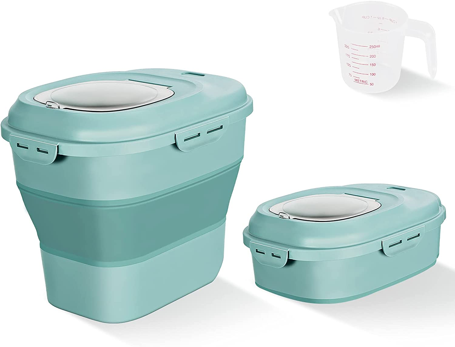 Cereal Rice Food Storage Containers, Collapsible 20 to 50 Lbs Dispenser Bin with Rolling Wheel Airtight Locking Lid, Dog Pet Cat Flour Sugar Plastic Leakproof Sealable Large Kitchen Pantry Holder
