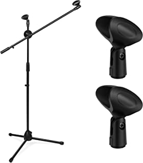Flexzion Tripod Boom Microphone Stand w/Extending Arm & Dual Mic Holder Clip Adjustable 360-degree Rotating Collapsible Foldable for Blue Snowball Studio Recording Audio Live Stage Streaming