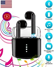 Priish® v.7.12.HQ 2020 Upgraded Version Sound Wireless Bluetooth Earphone Earbud Portable Headphone Handsfree Sports Running Sweatproof Compatible iOS Android Smartphone Active Noise Cancellation Charging Case (Black/White)