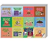 Creanoso Funny Coffee Puns Jokes Stickers (5-Sheet) – Total 60 pcs (5 X 12pcs) Individual Small Size 2.1' x 2', Unique Personalized Themes Designs, Flat Surface DIY Decoration Art Decal for Kids