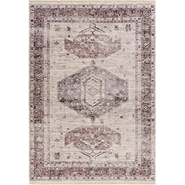 Iris Grey Modern Vintage Floral Traditional Area Small Rug 2 x 3 (2' x 2'7 ) Antique Weathered Oriental Medallion Multicolor Pattern