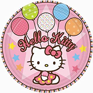 amscan Round Plates | Hello Kitty Balloon Dreams Collection | Party Accessory