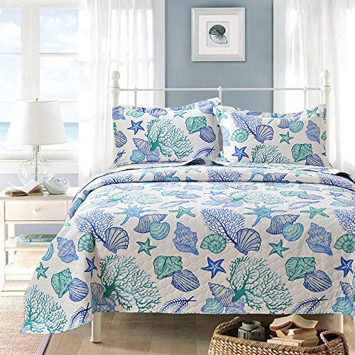 Ycosy 3-Piece Coastal Beach Quilted Bedspread King Size Blue Green Marine Theme Bedding Seascape Images Vivid Sea Shell Coral Conch Starfish Bed Covers Bedroom Decor, 1 Quilt+ 2 Shams