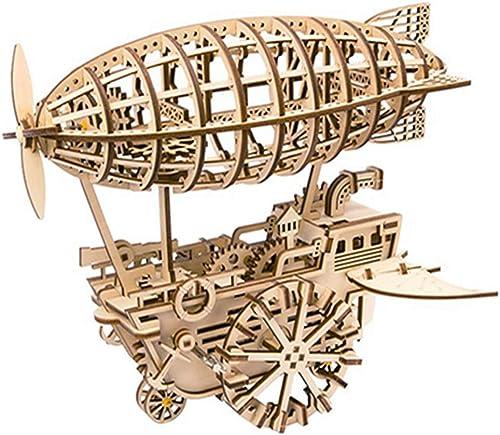 QIQI Kinder erwachsenes Jigsagemodell Wooden Crafts Ornaments Clockwork Power Airship Puzzle.