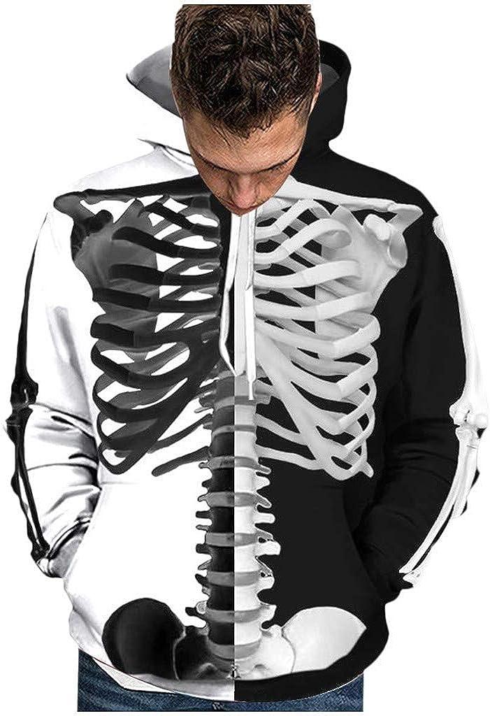 Hoodies for Men, Misaky Halloween Skull Print Long Sleeve Pockets Pullover Hooded Couple Sweatshirts Junmper Tops