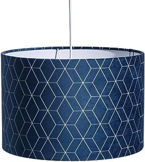 Lámpara de techo contemporánea con pantalla geométrica de terciopelo azul ø 30 cm - LOLAhome