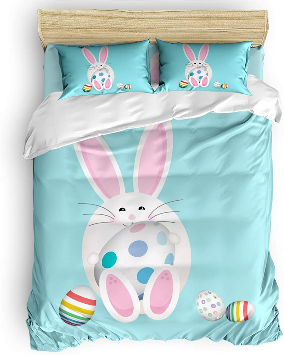 4 Pieces Bed Sheets Set Twin Size, Cute Cartoon Rabbit Bunny and colorful Eggs 3D Print Floral Duvet Cover Set