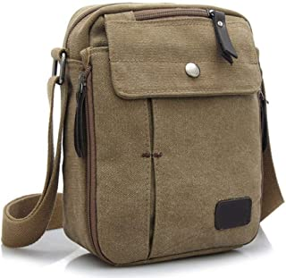Kapark Kleiner Herren-Rucksack aus Segeltuch, Kuriertasche, Schultasche, Reisetasche, Khaki
