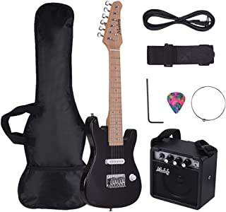 Decdeal Muslady 28 Inch Kids Children ST Electric Guitar Kit Maple Neck Paulownia Body with Mini Amplifier Guitar Bag Stra...