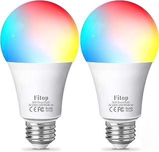 Ampoule Intelligente Wifi Led Smart Bulb E27, Fitop 10W RGBCW Ampoule Connectee Alexa, Compatible avec Alexa/Google Home, ...