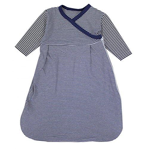 TupTam Baby Unisex Langarm Innenschlafsack, Farbe: Streifenmuster Dunkelblau, Größe: 86-92
