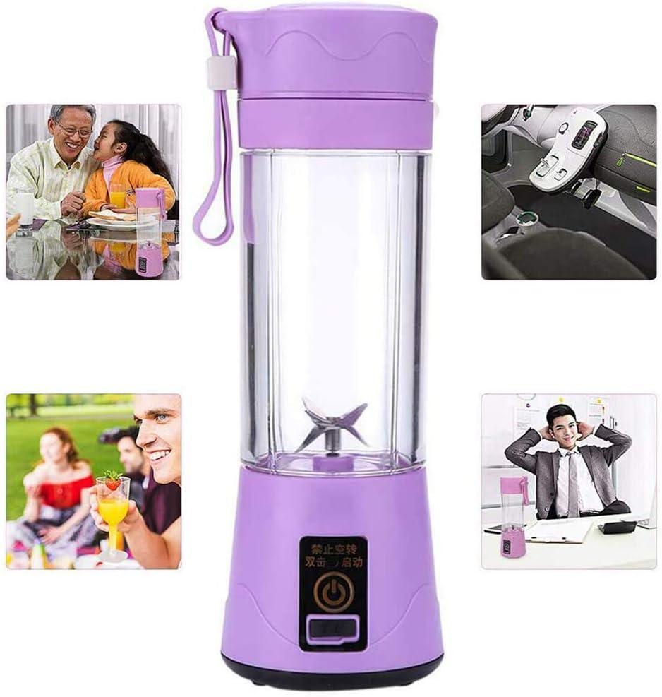 Akemaio Mini licuadora portátil USB Licuadora Personal Taza exprimidora Batidora eléctrica Recargable Mezclador de Jugo Herramienta de Cocina para el hogar, la Oficina Purple