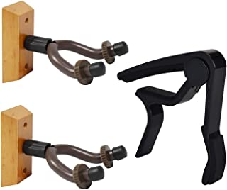 Guitar Wall Mount Hanger Hook 3 in 1 Pack Wooden Base Stand Holder with Capo for Bass Electric Acoustic Guitar Ukulele
