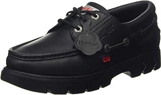 Kickers Lennon Black Leather, Chaussures Bateau Mixte