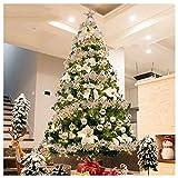 J-Sapins de Noël Illuminé arbre de Noël artificiel, écologique Pvc haut de gamme Spruce Hinged En 600 certifié UL Led support en métal for vacances Décor-argenté (Size : 7.8Ft(240CM))