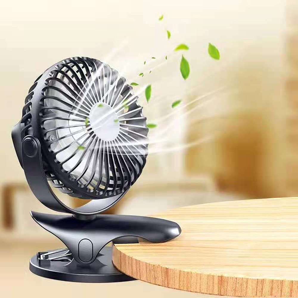 Skypacer Clip On Fan Stroller Fan,Battery Operated Portable Rechargeable Mini USB Fan,3 Speed Small Desk Fan with Strong Clamp,360°Rotation for Office,Bedroom,Travel,Baby Stroller (Black)