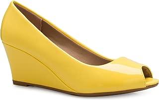 Women's Adorable Low Peep Toe Wedge Heel Shoe - Comfortable, Adorable