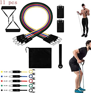 11Pcs Exercise Resistance Bands Set,Fitness Stretch Workout Bands Cord with Pull Ropes, for Men Women Abdomen Waist Arm Fi...