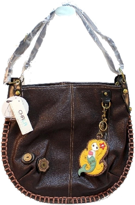 Chala Purse Handbag Leather Hobo Cross Body Congreenible Mermaid Dark Brown