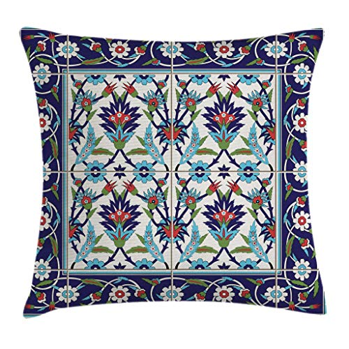"""Ambesonne Turkish Pattern Throw Pillow Cushion Cover, Mosaic Tiles with Nature Inspired Ornaments Tulips and Daisies with Curls, Decorative Square Accent Pillow Case, 20"""" X 20"""", Turquoise White"""