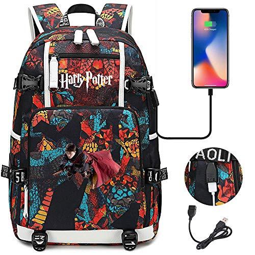 Harry Pt Rucksack, fliegenden Magic Besen, Laptop Rucksack Mode Schule Tasche für Abenteuer/College/Freizeit/Reisen 18.5/11.8/5.9 Zoll Farbe-B