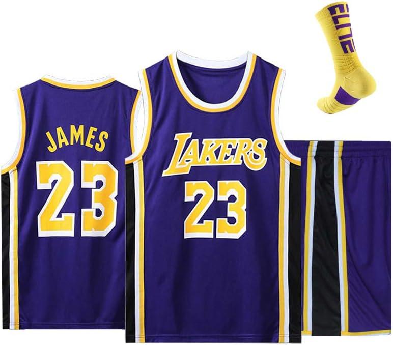 WERT Conjunto de Uniforme de Baloncesto para Hombre Lebron James # 23 Camiseta de Baloncesto de Los Angeles Lakers Camiseta sin Mangas y Pantalones Cortos de Baloncesto c White-XL