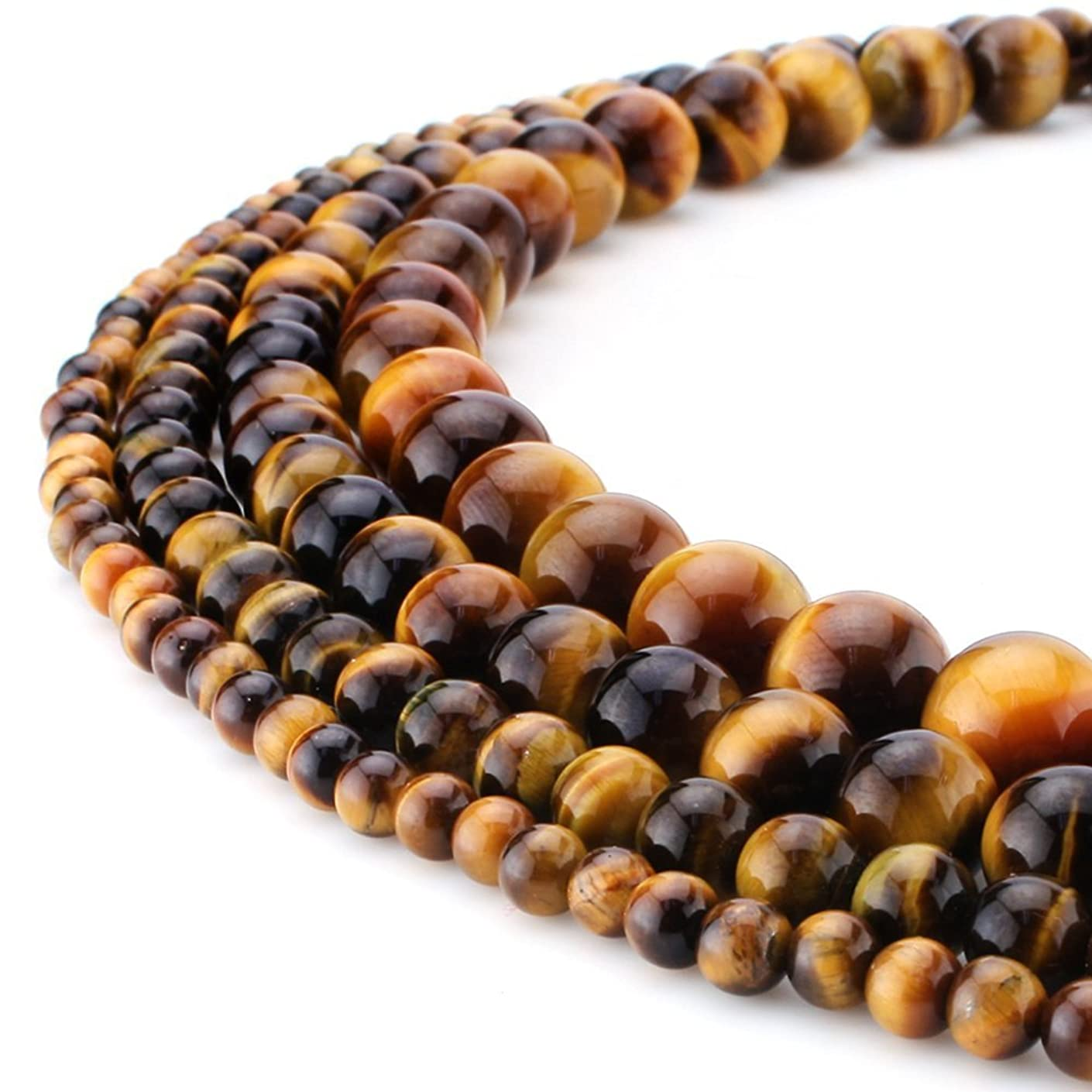 RUBYCA Wholesale Natural Tiger-Eye Gemstone Round Loose Beads for DIY Jewelry Making 1 Strand - 8mm