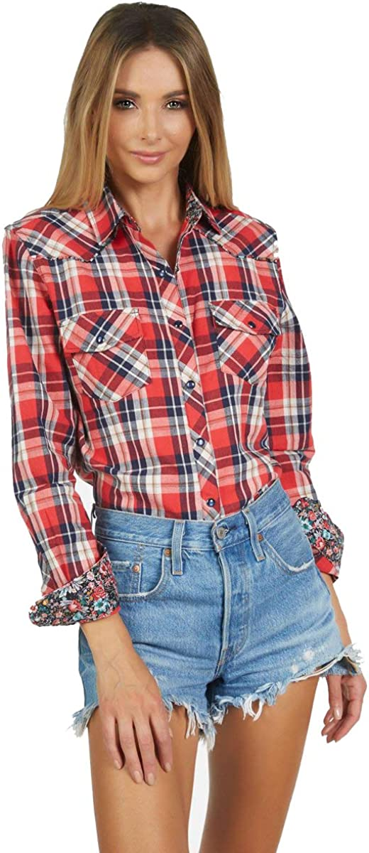 Women's Long Sleeve Plaid Button up Fashion Shirt 'Red Red Wine' 186