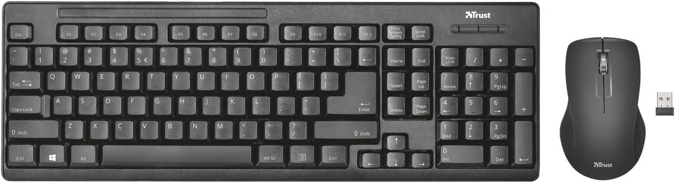 Trust Ziva - Teclado y ratón inalámbricos, layout español, negro