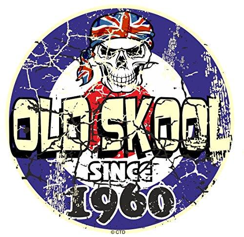 Effet vieilli vieilli vintage style old skool depuis 1960 Rétro Mod RAF Motif cible et crâne vinyle Sticker Autocollant Voiture ou scooter 80 x 80 mm