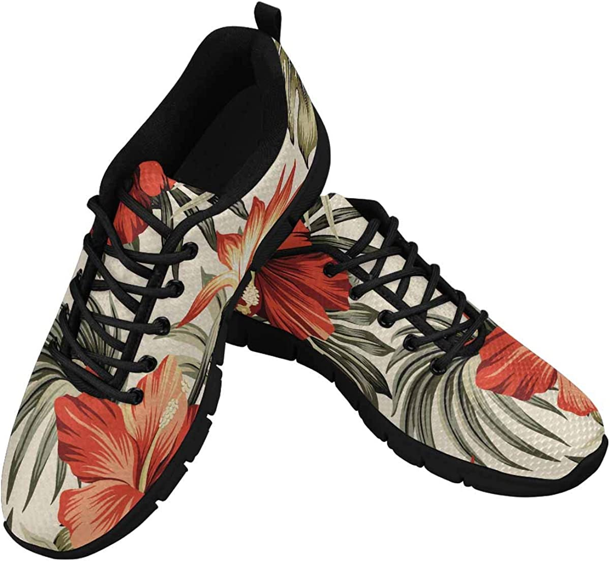InterestPrint Tropical Vintage Red Hibiscus Women's Walking Shoes Lightweight Casual Running Sneakers