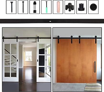 9FT//274cm Schiebet/ürbeschlag Set Schiebet/ürsystem Zubeh/örteil Stahl Stainless Steel Sliding Barn Single Door Hardware Kit For Wood//Glass Door