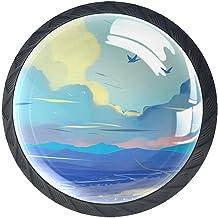 Ladeknoppen Ronde Kristal Glazen Kabinet Handvatten Pull 4 Pcs, Wit Blauw rood Wolk