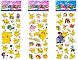 Pokemon 3D Puffy Dimensional Scrapbooking Party Pack Stickers Pikachu Edition (3 Sheets)
