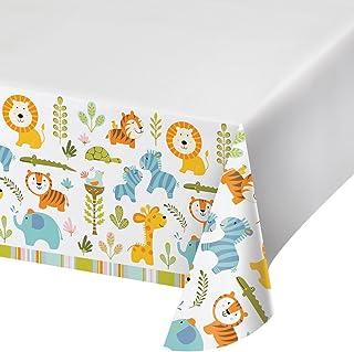 غطاء طاولة بلاستيكي مطبوع عليه الحواف من Creative Converting ، Happi Jungle - 324593